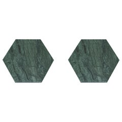 Set of 2 Hexagonal Green Marble Coasters