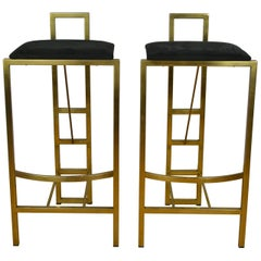 Hollywood Regency Pair of Gild Bar Stools by Belgo Chrome, Belgium, 1970s