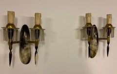 set of 2 horn and acrylic wall lamps from france / 1950