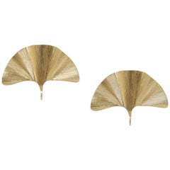 Set of 2 Huge Ginkgo Leaf Brass Wall Lights or Sconces in the manner of Tommaso