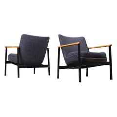Set of 2 Ib Kofod-Larsen Lounge Chairs in Grey Fabric, Beech and Black Metal