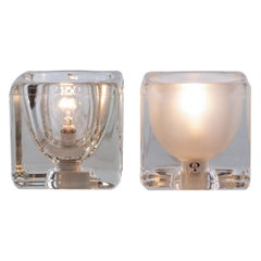 Iced Glass Cube Table Lamps by Peill & Putzler 1970s, Set of 2