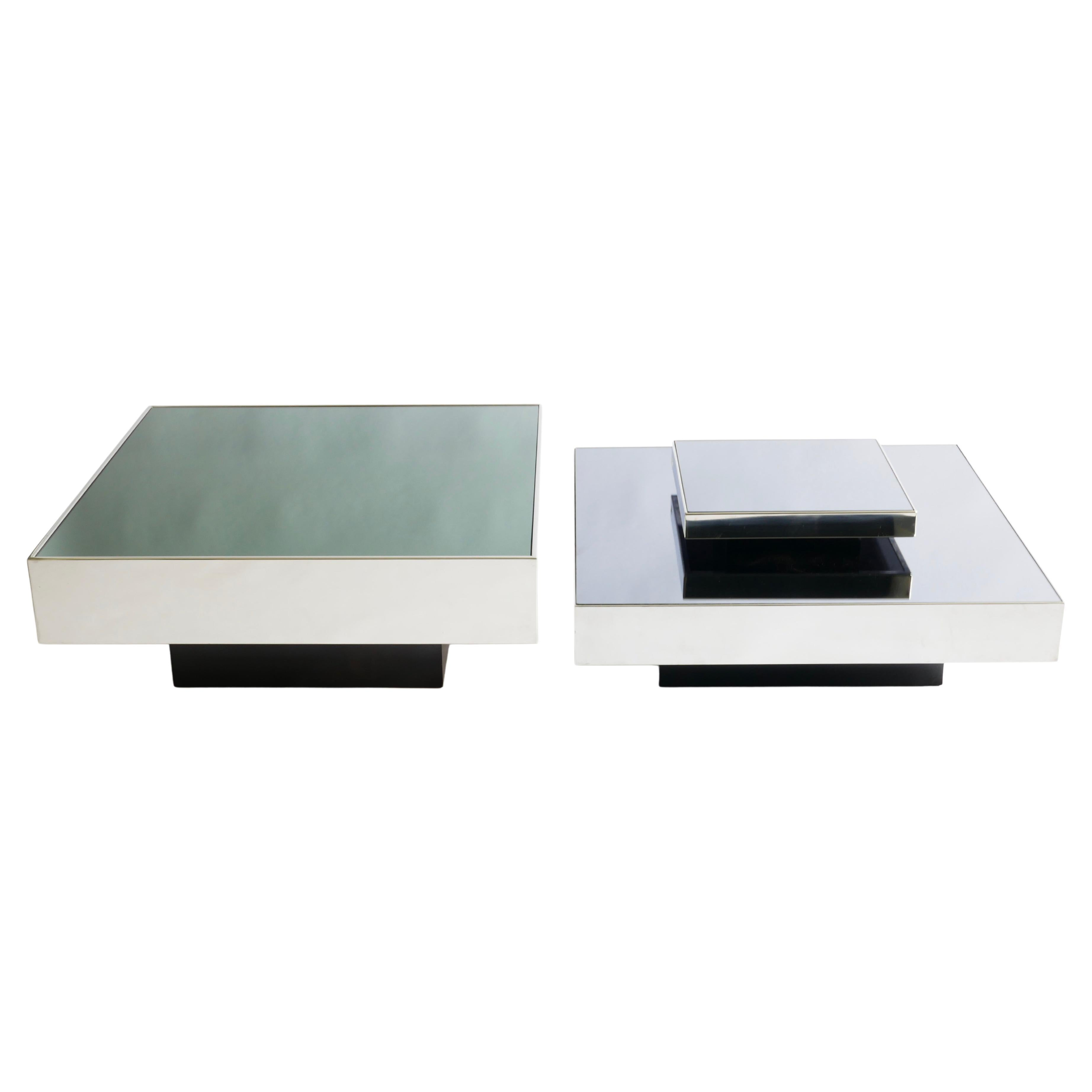 Set of 2 Inox and Mirrored Coffee or Low Table by Ausenda, Italy 1970