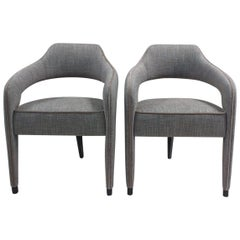 Set of 2 Invicta Dining Chair with One Back Foot in Wood and Piping Details