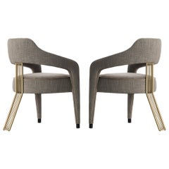 Set of 2 Invicta II Dining Chair with Metal Gilded Back Leg