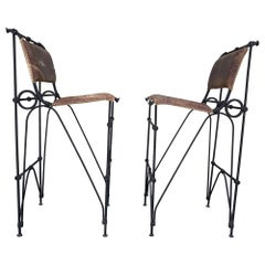 Set of 2 Iron and Leather Barstools by Ilana Goor