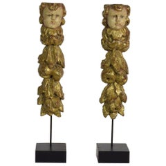 Set of 2 Italian 18th Century Baroque Ornaments with Angel Heads