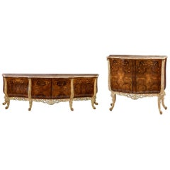 Set of 2 Italian Burl and Marquetry Inlaid Marble-Top Buffet