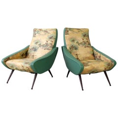 Set of 2 Italian Chairs, Two-Tone Cover, Turquoise and Landscape Motive, 1950s