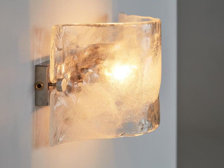 Mid-Century Modern Set of 2 Italian Murano Glass Wall Lights For Sale
