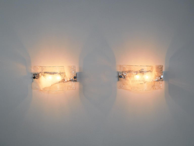 Set of 2 Italian Murano Glass Wall Lights In Good Condition For Sale In Waalwijk, NL