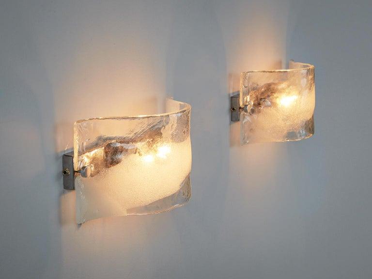 Mid-20th Century Set of 2 Italian Murano Glass Wall Lights For Sale
