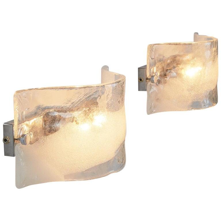 Set of 2 Italian Murano Glass Wall Lights For Sale