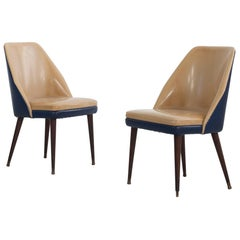 Set of 2 Italian Sidechairs in Two-Tone Original Vipla Covering, Cassina, 1950s