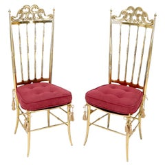 Set of 2 Italian Solid Brass Chiavari Chairs from 1950s Salmon Red Upholstery