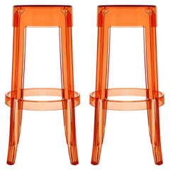 Set of 2 Kartell Charles Ghost Large Stools in Amber by Philippe Starck
