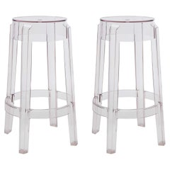 Set of 2 Kartell Charles Ghost Large Stools in Crystal by Philippe Starck