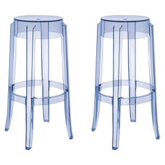 Set of 2 Kartell Charles Ghost Large Stools in Light Blue by Philippe Starck