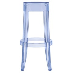 Set of 2 Kartell Charles Ghost Large Stools in Powder Blue by Philippe Starck