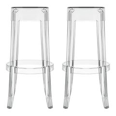 Set of 2 Kartell Charles Ghost Large Stools in Smoke Grey by Philippe Starck