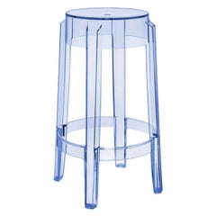 Set of 2 Kartell Charles Ghost Medium Stools in Powder Blue by Philippe Starck