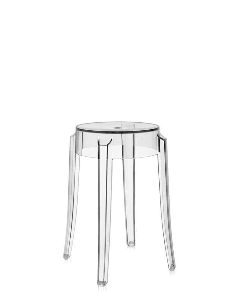 The shape conjures up stools of the 1800s and the line of the legs is rounded and slightly upturned, an icon of the Classic high stool. Charles Ghost is constructed from a single block of transparent polycarbonate which makes it indestructible and