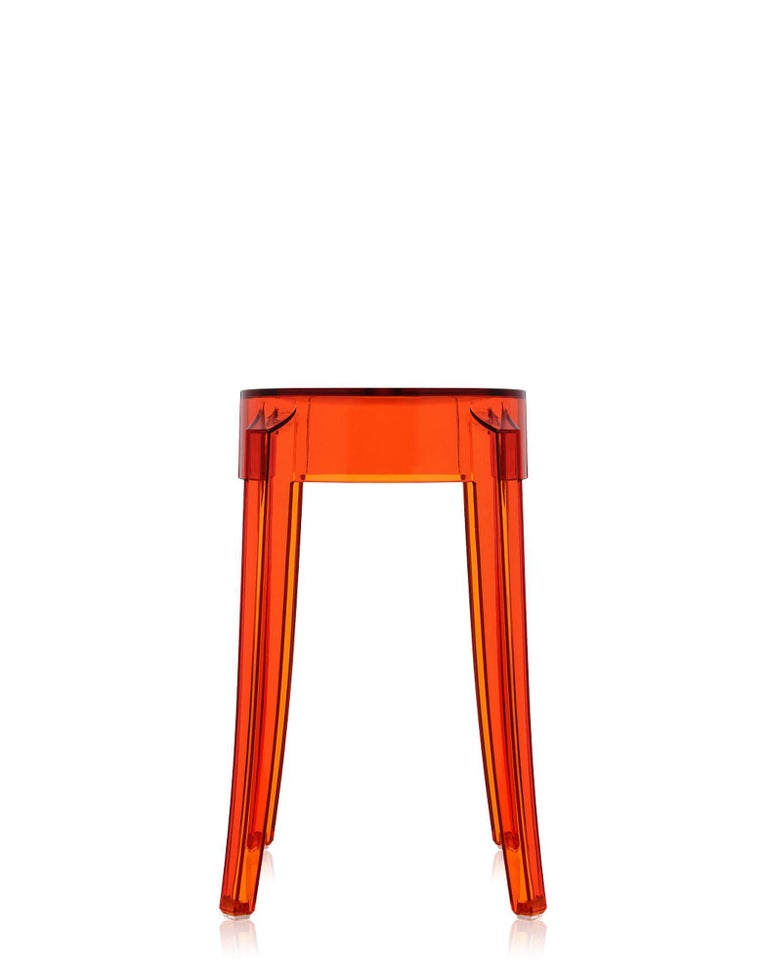 Modern Set of 2 Kartell Charles Ghost Small Stools in Crystal by Philippe Starck For Sale