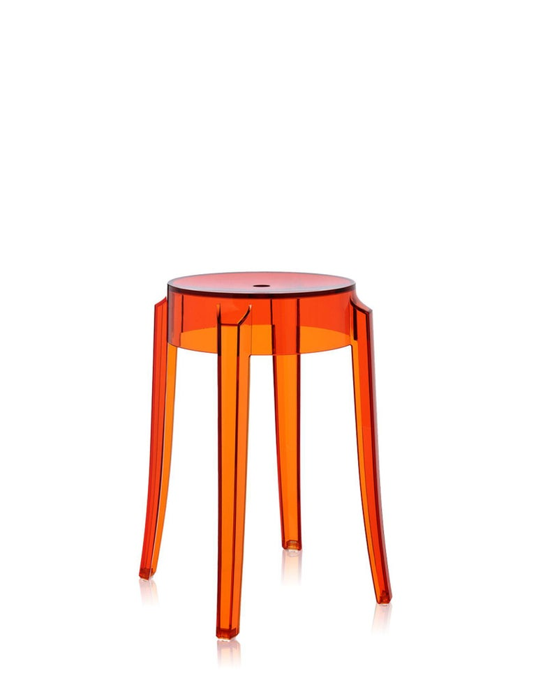 Italian Set of 2 Kartell Charles Ghost Small Stools in Crystal by Philippe Starck For Sale