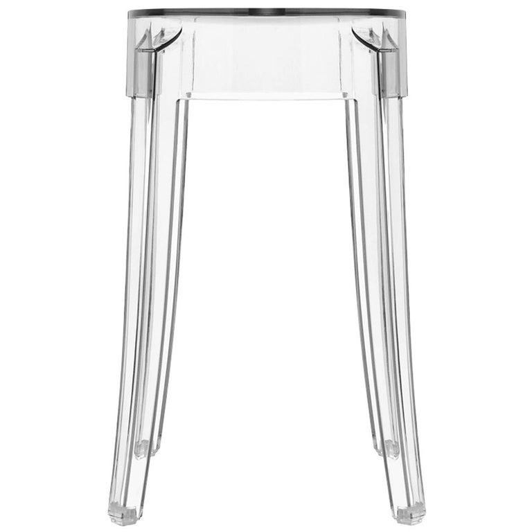 Set of 2 Kartell Charles Ghost Small Stools in Crystal by Philippe Starck For Sale