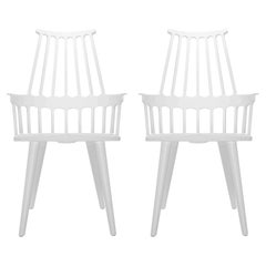 Set of 2 Kartell Comback Chairs in White with White Legs by Patricia Urquiola