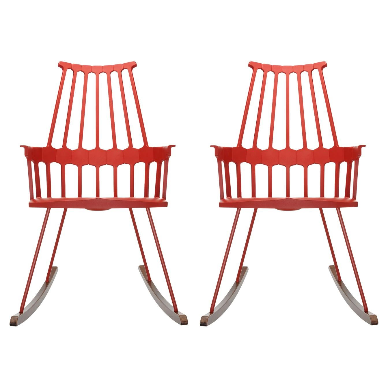 Set of 2 Kartell Comback Rocking Chairs in Orange Red by Patricia Urquiola