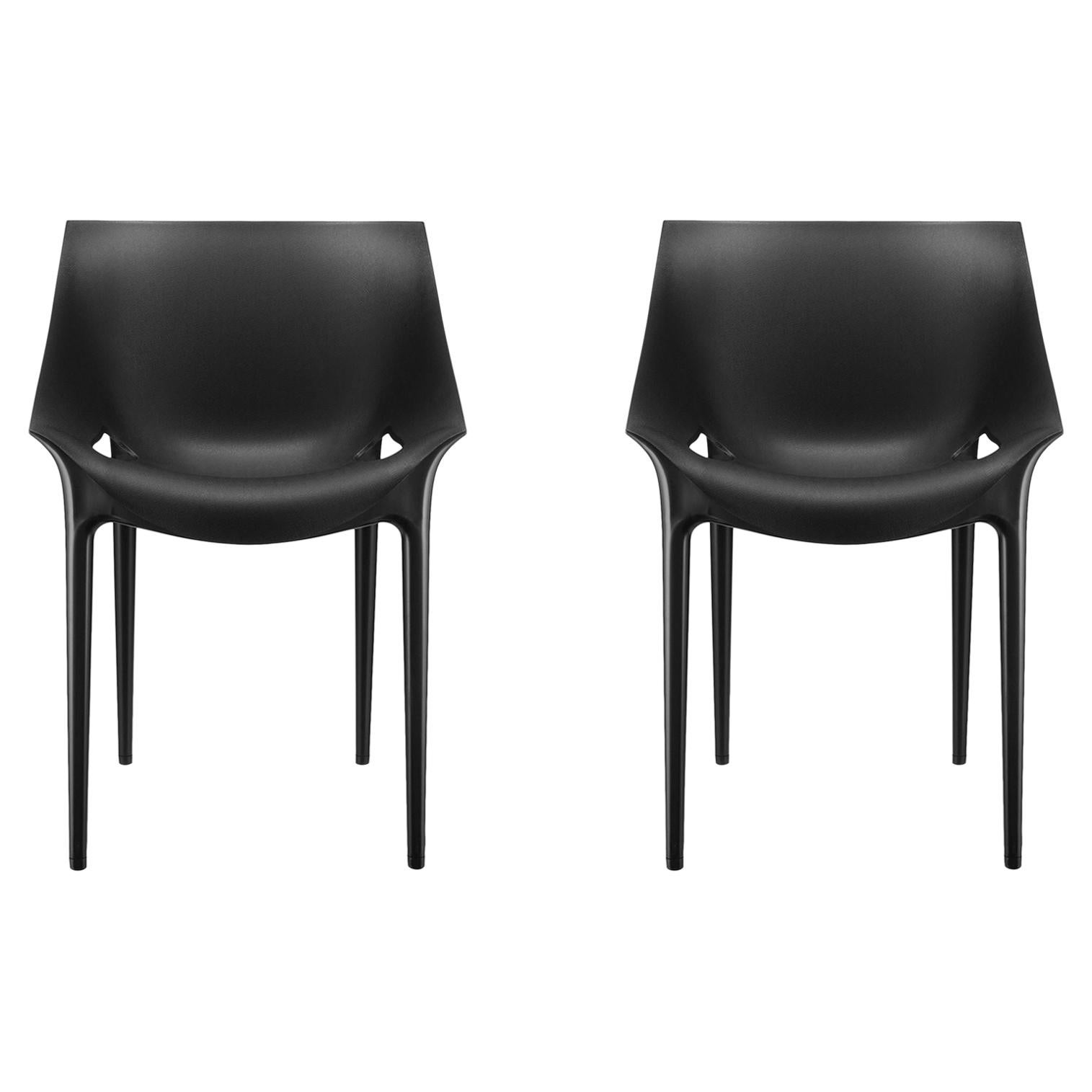 Set of 2 Kartell Dr. Yes Chairs in Black by Philippe Starck & Eugeni Quitllet