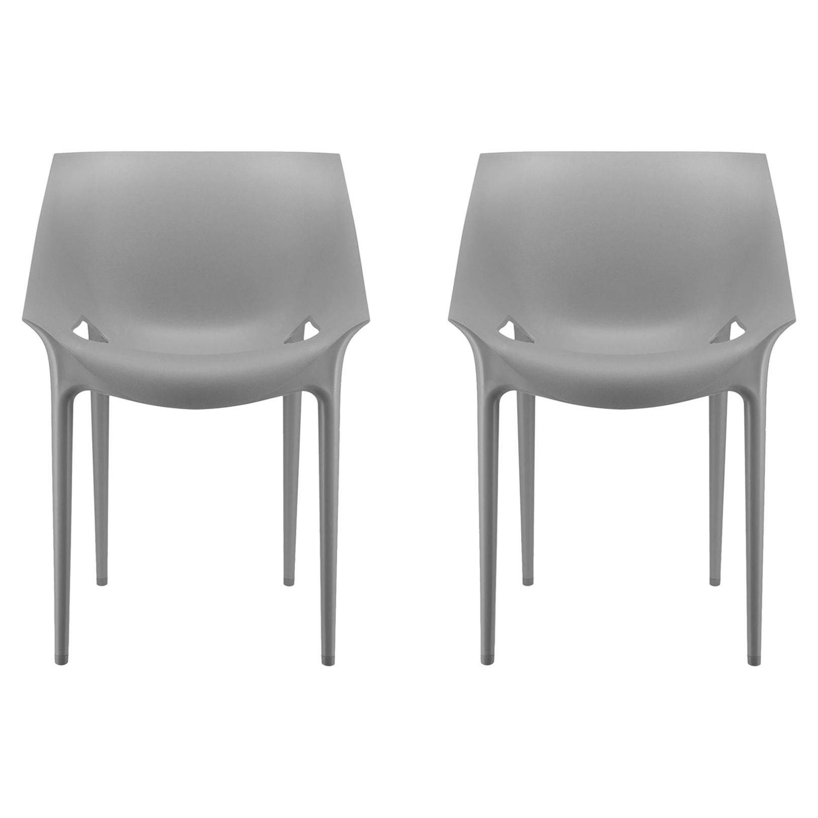 Set of 2 Kartell Dr. Yes Chairs in Grey by Philippe Starck & Eugeni Quitllet