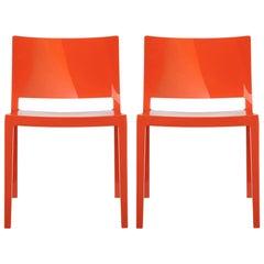 Set of 2 Kartell Lizz Chairs in Orange by Piero Lissoni & Carlo Tamborini