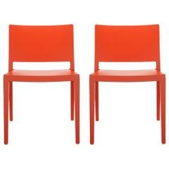 Set of 2 Kartell Lizz Mat Chairs in Orange by Patricia Urquiola