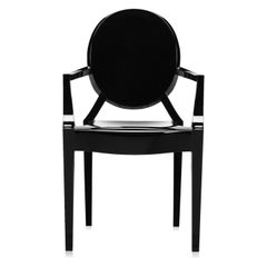 Set of 2 Kartell Louis Ghost Armchairs in Black by Philippe Starck