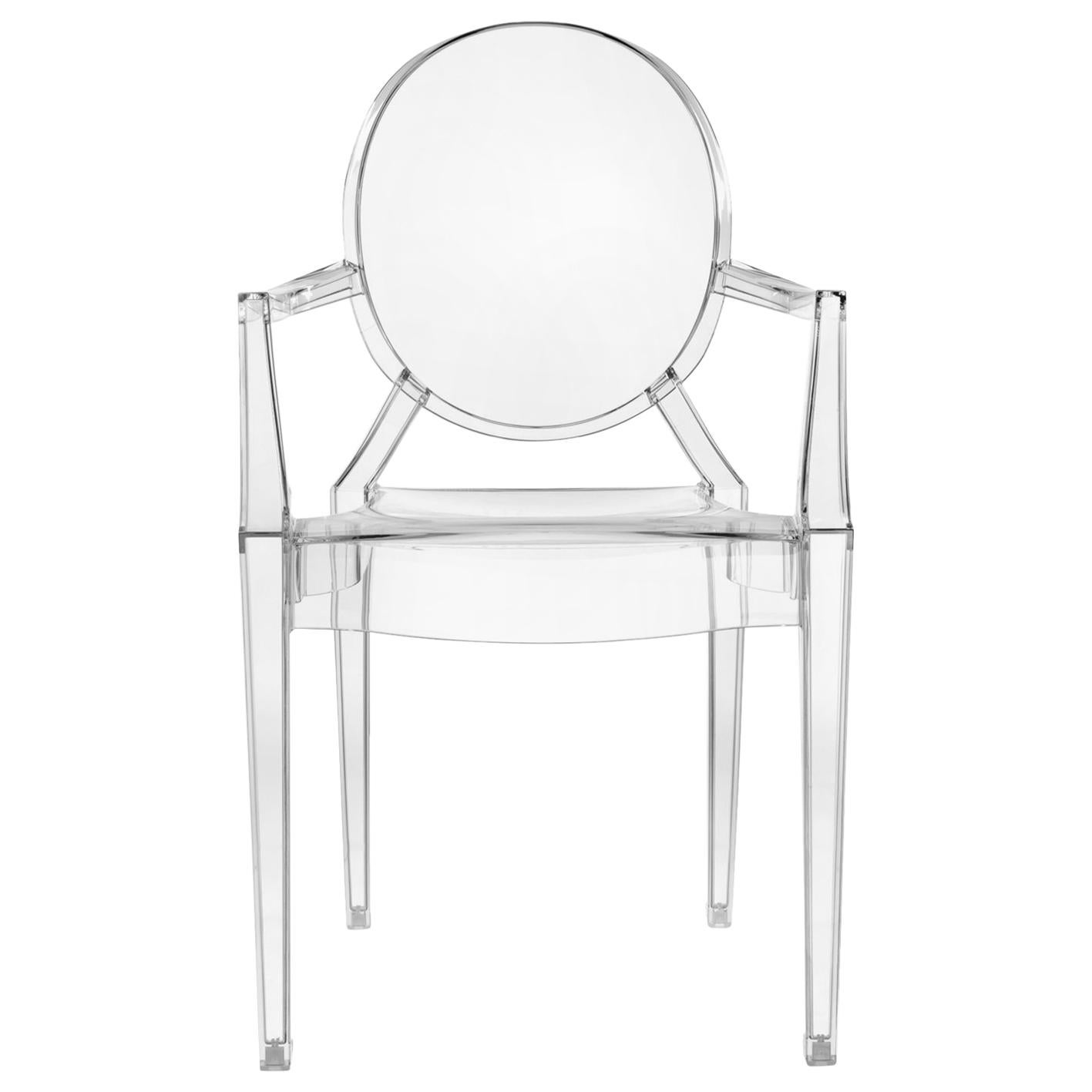Set of 2 Kartell Louis Ghost Armchairs in Crystal by Philippe Starck