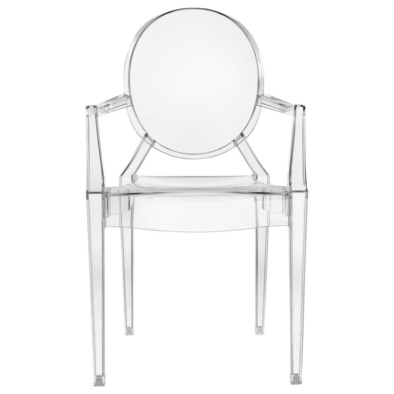 Set of 2 Kartell Louis Ghost Armchairs in Crystal by Philippe Starck For Sale