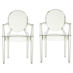 Set of 2 Kartell Louis Ghost Armchairs in Crystal Green by Philippe Starck