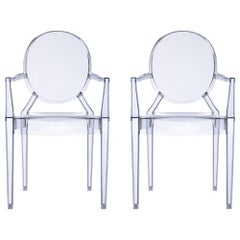 Set of 2 Kartell Louis Ghost Armchairs in Ice Blue by Philippe Starck
