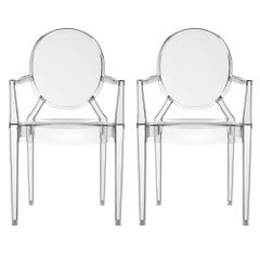 Set of 2 Kartell Louis Ghost Armchairs in Smoke Grey by Philippe Starck