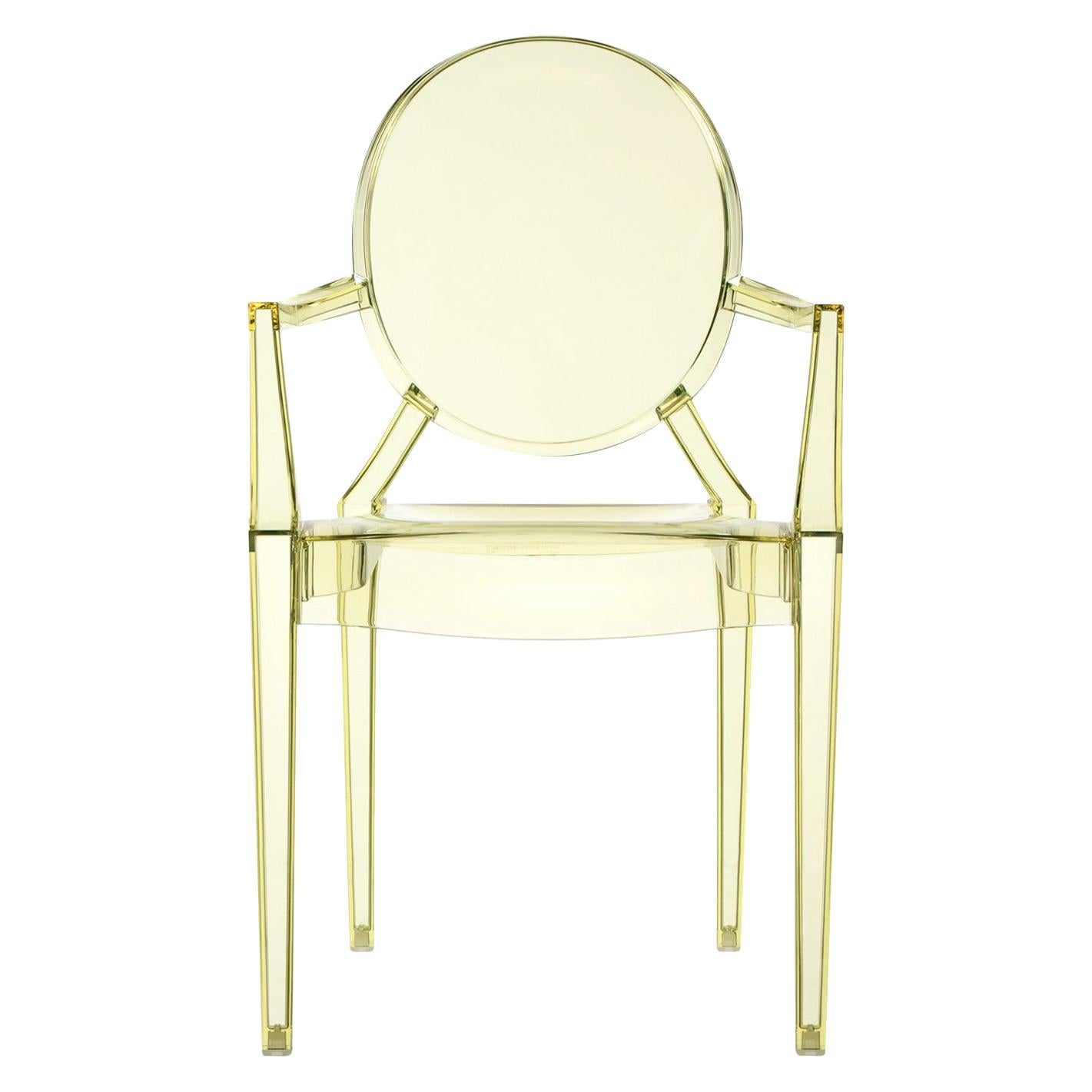 Set of 2 Kartell Louis Ghost Armchairs in Straw Yellow by Philippe Starck