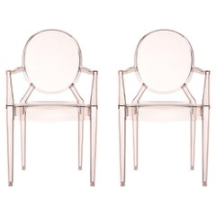 Set of 2 Kartell Louis Ghost Armchairs in Sunset Orange by Philippe Starck