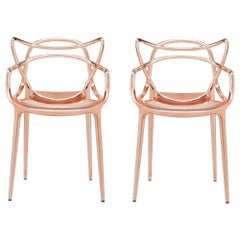 Set of 2 Kartell Masters Chairs in Copper by Philippe Starck & Eugeni Quitllet