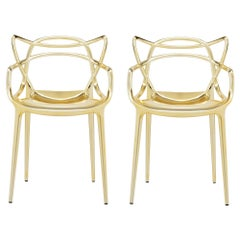 Set of 2 Kartell Masters Chairs in Gold by Philippe Starck & Eugeni Quitllet