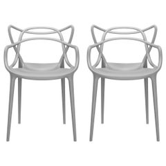 Set of 2 Kartell Masters Chairs in Grey by Philippe Starck & Eugeni Quitllet