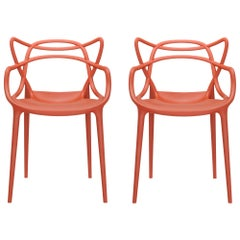 Set of 2 Kartell Masters Chairs in Orange by Philippe Starck & Eugeni Quitllet