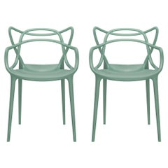 Set of 2 Kartell Masters Chairs in Sage by Philippe Starck & Eugeni Quitllet
