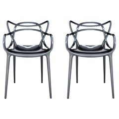 Set of 2 Kartell Masters Chairs in Titanium by Philippe Starck & Eugeni Quitllet