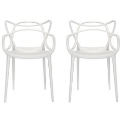 Set of 2 Kartell Masters Chairs in White by Philippe Starck & Eugeni Quitllet